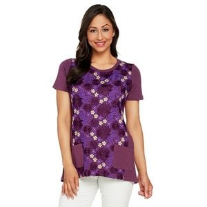 LOGO Lounge Lori Goldstein Women XL Purple T-Shirt